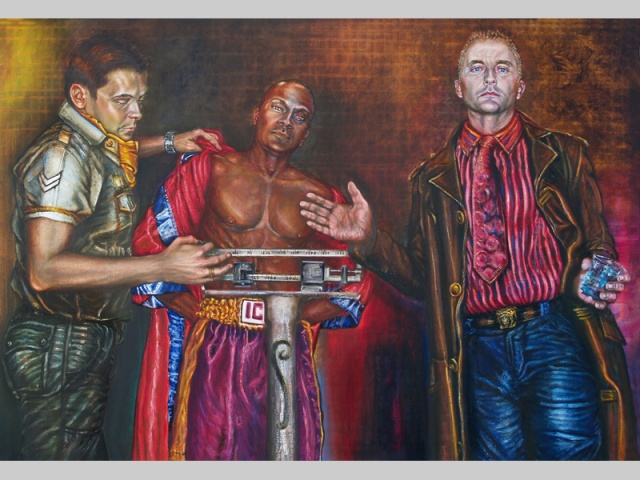 Oil painting from the The Passion series. The scales depict important historical dates in the struggle for human rights.